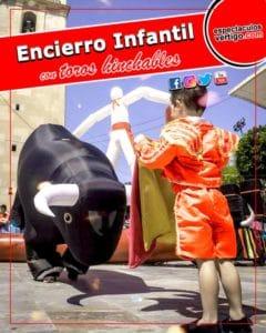 🥇 【 Encierro infantil con toros hinchables